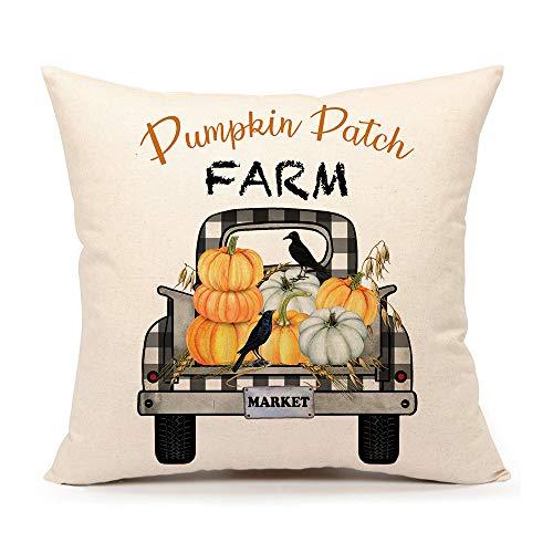 4TH Emotion Fall Pumpkin Patch Truck Throw Pillow Cover Autumn Farmhouse Market Cushion Case for Sofa Couch 18x18 Inches Cotton Linen