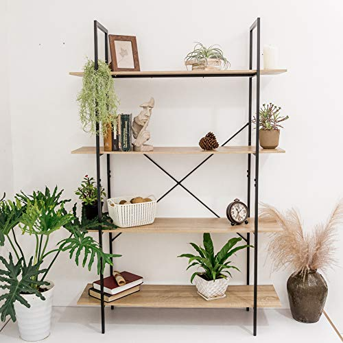 C-Hopetree Open Bookcase Bookshelf Large Storage Ladder Shelf Vintage Industrial Plant Display Stand Rack, Home Office Furniture, Black Metal Frame, 4 Tier Open