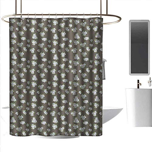 Long Shower Curtain Flower,Sakura Cherry Blossoms Retro Style Spring Nature Inspired Corsage,Dark Taupe Green Baby Blue Hanging Curtain Home Decoration W72 x L72 ()