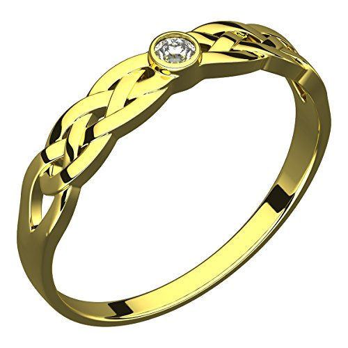 14K Gold Plated Silver Ring, CZ Stone, Celtic Trinity Knot - 7 - Gold Plated Celtic Knot