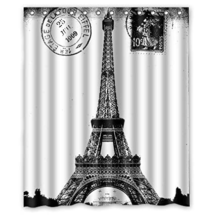 Custom Frech Paris Eiffel Tower City Of Love Black White Shower Curtain 60quot X 72quot