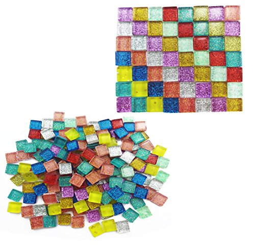 Amersumer 400 Pieces Assorted Colors Mosaic Tiles Glitter Crystal Mosaic for Home Decoration Crafts Supply,1 by 1 (Glass House Glitters)