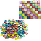 Amersumer 400 Pieces Assorted Colors Mosaic Tiles Glitter Crystal Mosaic for Home Decoration Crafts Supply,1 by 1 cm