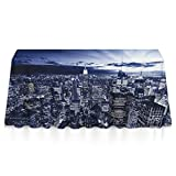 Premium Spillproof Tablecloths, Rectangular 3D Print USA Chicago Skyline Night View Table Cloths, Dust-Proof Wrinkle Free Table Toppers - Seasonal Decor