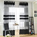 WPKIRA Grommet Window Sheer Curtain Panels for Living Room Warp Stripe Sheer Curtain for Living Room Home Decorate Window Treatment Drapes Tulle Sheer for Bedroom 1 Panel W114 x L96 inch