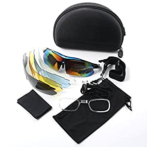 Polarized Sports Sunglasses Solar Shield Wayfarer Goggles Windproof UV Protection Eye Protector Glasses With 5 Interchangeable Lens for Unisex Riding Cycling Running Driving Golf Baseball