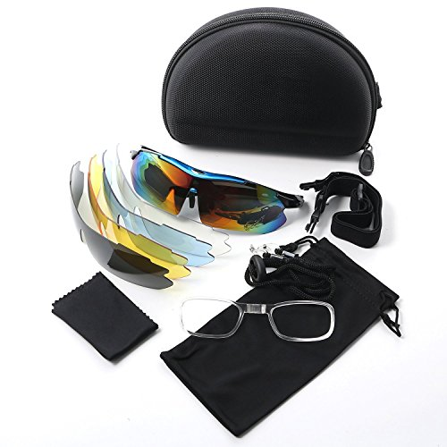 Polarized Sports Sunglasses Solar Shield Wayfarer Goggles Windproof UV Protection Eye Protector Glasses With 5 Interchangeable Lens for Unisex Riding Cycling Running Driving Golf - Sunglass Fitting