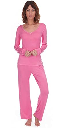 910785cfd Womens Bow Trim Comfy PJ Pyjama Set Viscose PJ s Pyjamas Ladies Lounge Wear  L