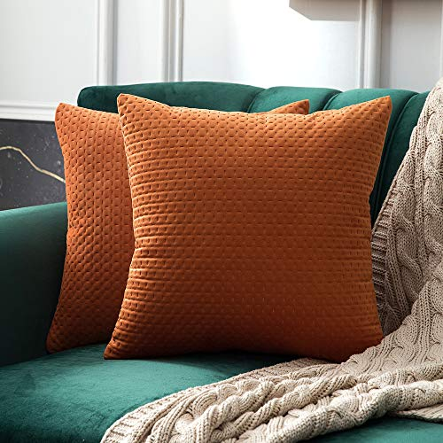 MIULEE Pack of 2 Decorative Velvet Throw Pillow Covers Soft Pattern Soild Orange Pillow Cases Luxury Euro Sham Cushion Covers for Sofa Couch Bed 18x18 Inch