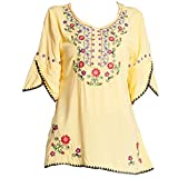Ashir Aley Bell Sleeve Womens Girls Embroidered Peasant Tops Mexican Bohemian Blouses (XL,Yellow)