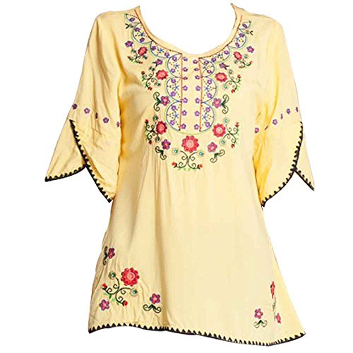 Ashir Aley Bell Sleeve Womens Girls Embroidered Cotton Peasant Tops Mexican Bohemian Shirts Blouses (L,Yellow)