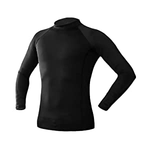 PINMEI Mens Rash Guard Long Sleeve Black, Sun Protection Swimwear, Compression Top Baselayer for Water Sports