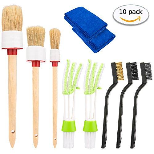 Hohoto AutoDetailingBrushSet 10 Pcs, Car Cleaning Tools Kit Including 3 PCS Car Detailing Brush and 2 PCS Automotive Air Conditioner Cleaner, 3 Pcs WireBrush and 2 Pcs Car Wash Clothes (10)
