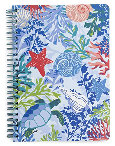 Vera Bradley Mini Spiral Notebook with Pocket and 160 Lined Pages, Shore Thing