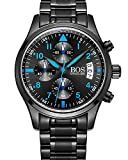 BOS Men's Sport Quartz Watch Black Dial Luminous Pointer Chronograph W/Stainless Steel Bracelet 8012 Blue