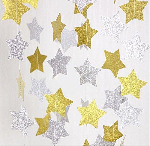 Fecedy 2pcs Gold Silver Sparkling Star Garland Bunting for Baby shower,Wedding Party 13 feet (Sparkling Garland)