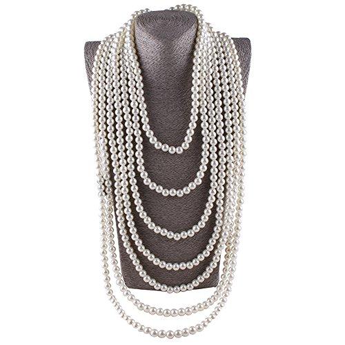 Aibei Women's Simulated Faux Pearl Seven Multi-Strand Necklace (Faux Pearl Multi Strand Necklace)