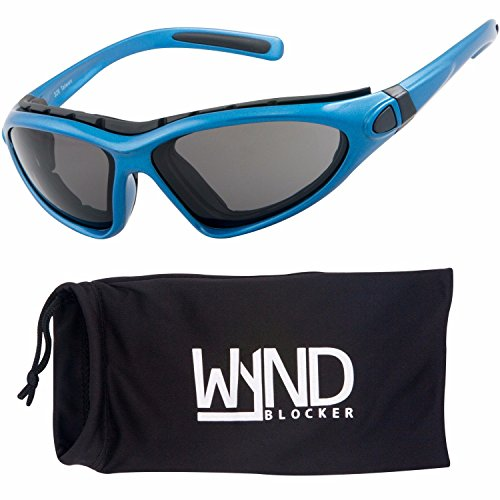 WYND Blocker Vert Motorcycle & Boating Sports Wrap Around Polarized Sunglasses (Blue / Smoke - Blue Blocker Shades