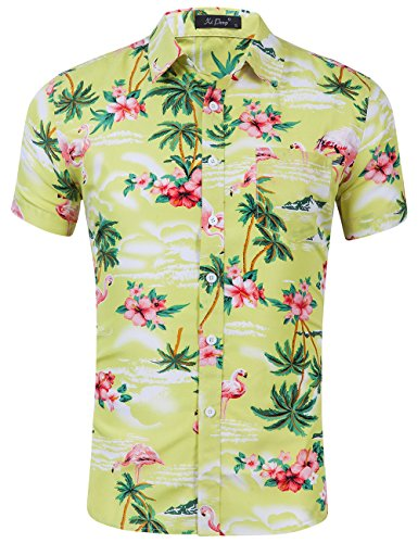 - XI PENG Men's Tropical Short Sleeve Floral Print Beach Aloha Hawaiian Shirt (Pink Flamingo Hibiscus Yellow, X-Large)