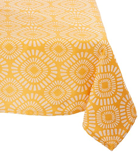 Mahogany T420T6 Square Cobble Stone Jacquard Tablecloth, 60 by 60-Inch, Orange/Light Grey ()