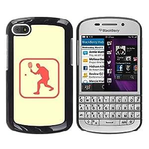 Caucho caso de Shell duro de la cubierta de accesorios de protección BY RAYDREAMMM - BlackBerry Q10 - Tennis Sport Healthy Lifestyle Symbol Pink Sign
