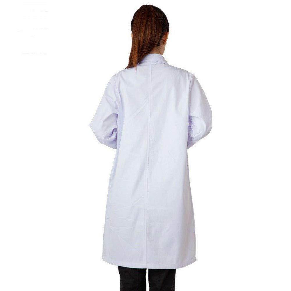 ESENHUANG Diseño Blanco Médico Robe Hospital Enfermera Uniforme Mujeres Uniformes Médicos Ladies Elegant White Lab Coat: Amazon.es: Ropa y accesorios
