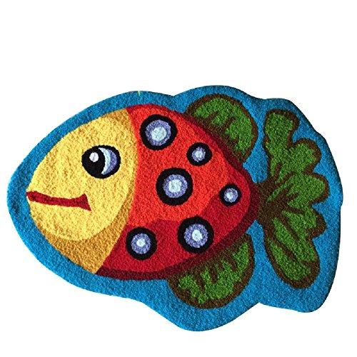 Polka Dot Kids Rugs - YOUSA Polka Dot Fish Rugs For Living Room Kids Room Floor Mat 23.6''31.5'',Blue Background