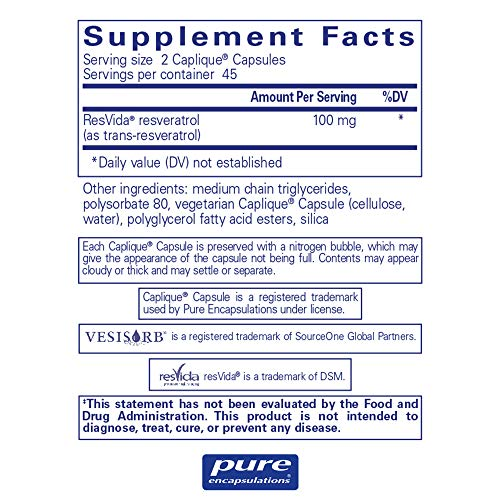 Pure Encapsulations - Resveratrol VESIsorb - Hypoallergenic Support for Cellular, Cardiovascular, and Neurocognitive Health* - 90 Caplique Capsules by Pure Encapsulations (Image #1)