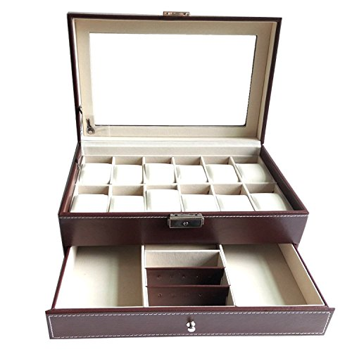 Boby Watch Box Organizer Watch Case for Men Women PU Leather 12 Slots for Display Storage Watch Holder with Drawer Glass Top Brown