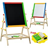 Topeakmart Wooden Double Sided Drawing Board Adjustable Artist Easel with Marker Pen, Board Eraser and Chalks & Bottom Tray for Kids Play Time