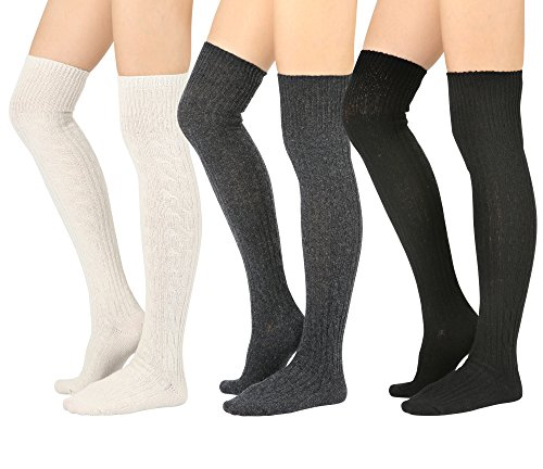 STYLEGAGA Winter Wool Cable Knit Over The Knee High boot Socks (One Size: XS to M, Wool Cable_3Pair)