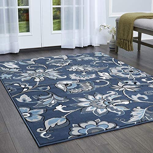 Home Dynamix Raffin Traditional Area Rug, Floral Navy White 5 2 x7 2