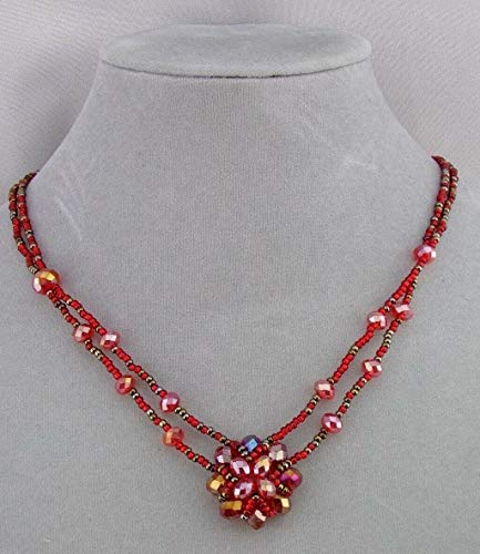 Sparkly Red Czech Glass Bead Flower Necklace For Women Magnetic Fashion Jewelry NEW ()
