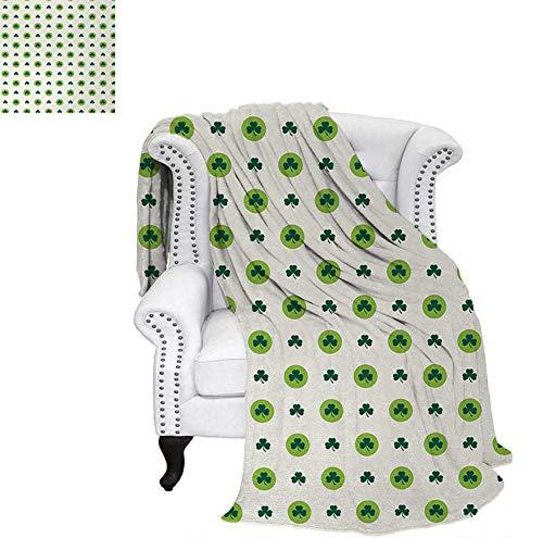 Custom Design Cozy Flannel Blanket Clover Flowers Green Dots Cultural Irish St. Patricks Day Pattern Weave Pattern Blanket 60
