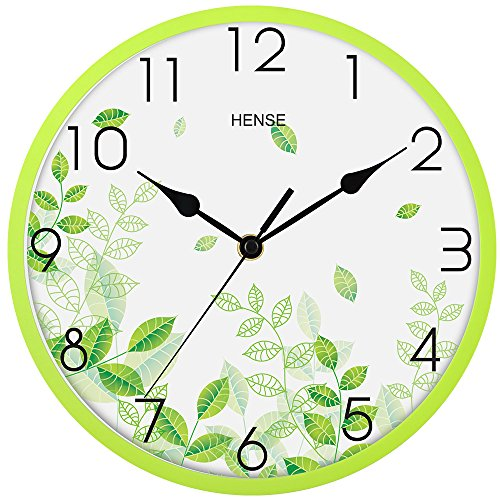 Large Wall Clock Fashion Concise Design Bedroom Kitchen living Room Round 10-inch Ultra Mute Quartz Movement Plastic Frame Wall Clock - Best Holiday Wedding Gift HW40 (Green # Plastic Frame)