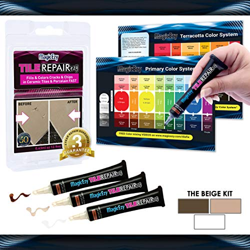 MagicEzy Tile Repairezy : Beige Tile Repair Kit - Fix and Color Tile Cracks and Chips in ()