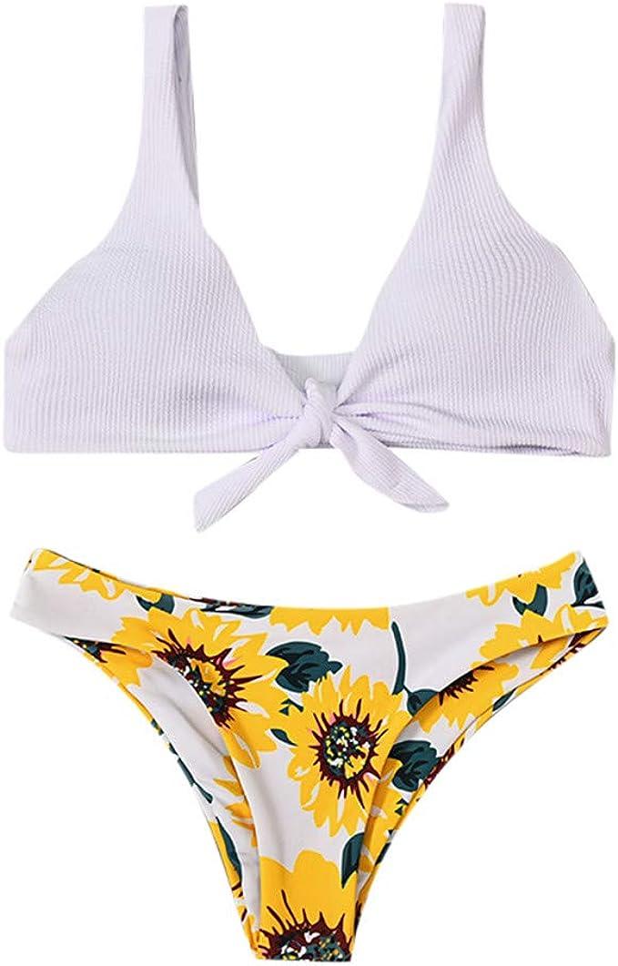 UK Kids Girls Backless Swimming Bikini Costume Swimwear Flower Swimsuit Clothes