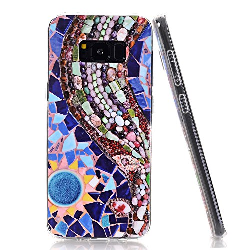Galaxy S8 Plus Case, Walago [Creative Design] Flexible Soft Silicone TPU cover with Glossy Pattern for Samsung Galaxy S8 Plus [colorful (Galaxy Mosaic)