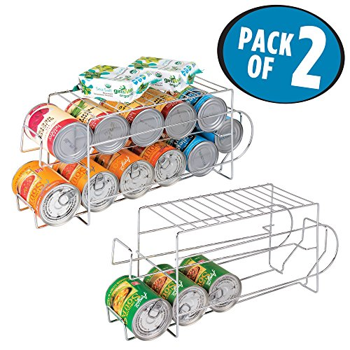 mDesign Two Tier Standing Pop/Soda and Food Can Dispenser Storage Rack Organizer with Shelf for Kitchen Pantry, Countertops and Cabinets – Pack of 2, Steel Wire with Chrome Finish by mDesign