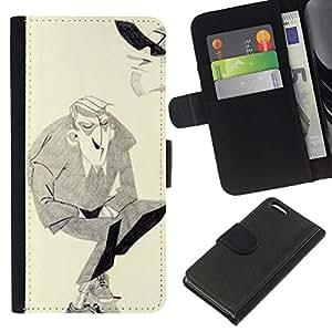 iBinBang / Flip Funda de Cuero Case Cover - Man Moustache Hitler Art dessin au crayon - Apple Iphone 5C