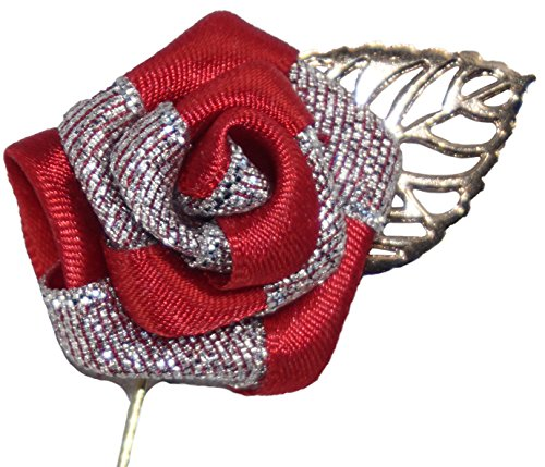 Flairs New York Gentleman's Essentials Premium Handmade Flower Lapel Pins (Pack of 1 Pin, Crimson Red / Silver [Gold Leaf])