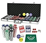 PrimeTrendz TM 500 Dice Style 11.5-Gram Heavy Duty Wager Poker Chip Set with Chips, Case, Dealer Buttons, 2 Deck of Playing Cards, and 5 Red Dice + Mat