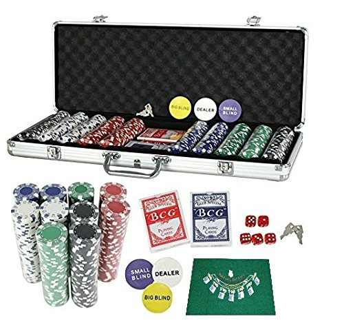 PrimeTrendz TM 500 Piece Dice 11.5-Gram Heavy Duty Wager Poker Chip Set with Chips, Case, Dealer Buttons, 2 Deck of Playing Cards, and 5 Red Dice + Poker Mat by PrimeTrendz TM