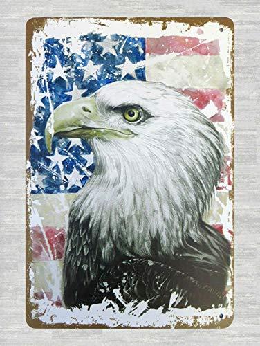 (DYTrade Tin Metal Sign 8 x 12 - Cool Home Decor American Flag Bald Eagle tin Metal Sign)