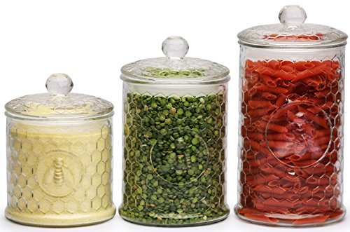 Circleware Honey Bee Food Preserving Glass Canister Jars with Air-tight Lids, Set of 3, 33 oz, 49 oz, 60 oz, (6.5