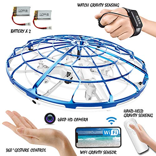 JIETENGFEI Flying Ball RC UFO Drone Helicopter Toy Camera Shooting Production MV FPV Cast Flying Six Sensing Probe Quad Copter Gesture Hand-Controlled,Hand-held Watch WiFi Gravity Sensing Girls Boy