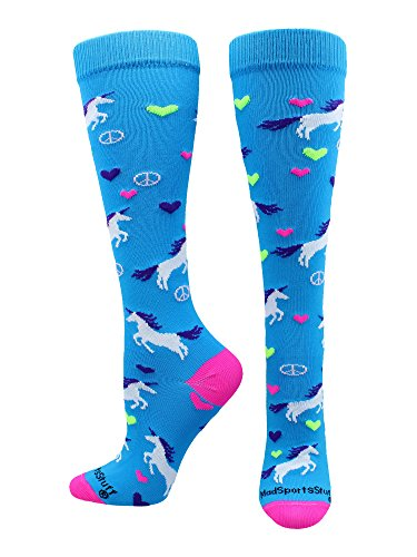 (MadSportsStuff Peace Love Unicorn Over The Calf Socks (Electric Blue/Neon Pink, Small))