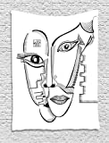 XHFITCLtd Surrealistic Tapestry, Modern Cubism Style Abstract Interlace Human Woman Faces Artistic Illustration, Wall Hanging for Bedroom Living Room Dorm, 60 W X 80 L Inches, Grey White