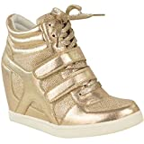 Fashion Thirsty Womens Hi Top Wedge Sneakers Trainers Sport Ankle Boots Size 7