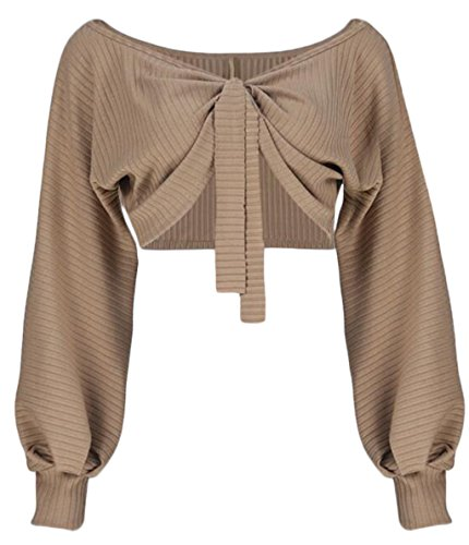 Women Sexy Off Shoulder Long Sleeve Crop Top Tie Up Front Blouse Shirt size S (Khaki) ()
